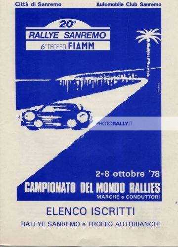 Sanremo 1978 - Elenco degli iscritti