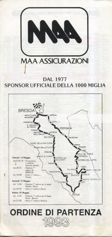 A.S. Mille Miglia 1993 - ORDINE DI PARTENZA